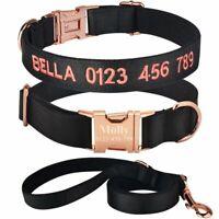 Personalized Dog Collar Leash Nylon Adjustable RoseGold Metal Buckle Custom Name