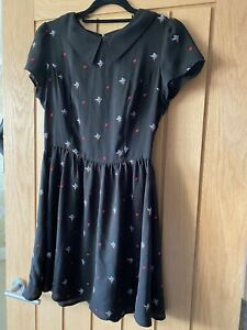 Tea Dress In Black With Flower & Heart Embroidery Size 10 From Topshop
