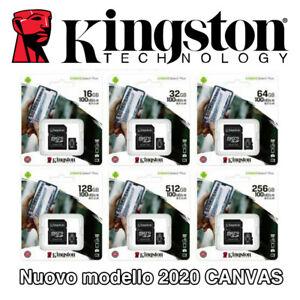 MICRO SD SDCS 16 32 64 128 GB 100MB/S KINGSTON SCHEDA MEMORIA CARD CLASSE 10