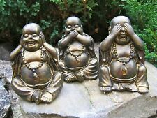 Buddha, Hear See Speak No Evil Buddhas, Black & Gold Painted Concrete Statues,