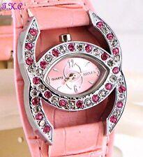 Pink Designer Kiss Bling Ladies Cocktail Dress Cuff Watch w/ Swarovski Crystals