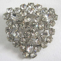 Gorgeous Pin Large Vintage Rhinestone  Brooch Silvertone Metal  Triangle Shape