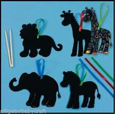 EIGHT Scratch Art Zoo Animal Craft Kits 4 Kids ABCraft