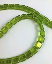 Czech glass Tile beads. 6mm 2 hole. One strand -50 beads Gold Marbled Olivine