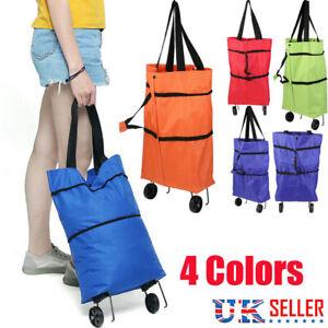 Folding Shopping Bag Trolley Oxford Cart On Wheels Reusable Handbag Fast Free