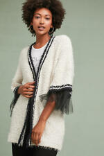 Anthropologie Tulle-Trimmed Cardigan NWT new size S ivory