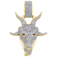 """10K Yellow Gold Diamond GOAT Greatest Of All Time Pendant 1.65"""" Charm 0.63 CT."""
