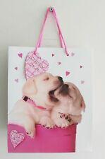 Pink Puppy Dog Love Gift Bag - Medium 26cm x 21.5cm - Cute NEW