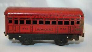 Marx 245 Bogota Pullman Car Red Tin Metal Litho Toy Train Prewar O Gauge