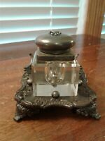 VINTAGE QUADRUPLE SILVER PLATE & GLASS INKWELL THE ACME SILVER PLATE CO BOSTON