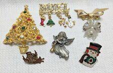 6 VTG Christmas Holiday Tree Angel Noel Snowman Signed Dana Brooch Pin Pendant