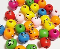 30 Holzperlen Rund 14mm Kinder Schnullerketten Smiley-Gesicht Bunte BEST H130