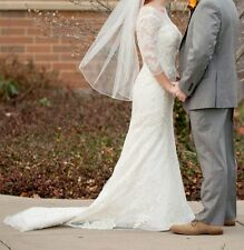 Oleg Cassini 3/4 Sleeve Ivory Illusion Wedding Dress Size 4 Lace Trumpet CWG638