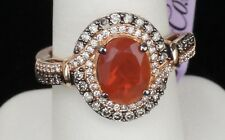 NEW 14K Strawberry Honey Gold LeVian Neon Fire Opal Chocolate Diamond Ring 7.25