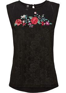 Mesh-Shirt mit Spitze und Blumen Gr. 40 Schwarz Damenshirt Top Bluse Tunika Neu