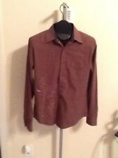 BILLABONG BROWN STRIPED SLIM FIT COTTON BUTTON FRONT SHIRT  S