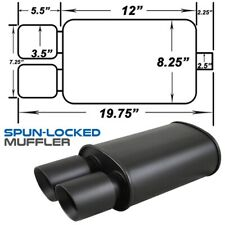 """Black Spun-locked Exhaust Oval Muffler Double Wall 3.5"""" Dual Slant Tip for BMW"""
