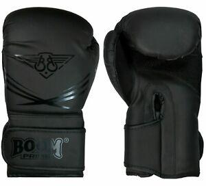 Boxing Gloves Black Matte 10oz 12oz 14oz 16oz Training Sparring Punch Bag Mitts