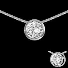 Zirkonia Collier 925 Silber 11mm Circle Anhänger Rund Schlangenkette Damen Kette