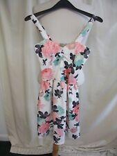 Ladies Dress New Look UK 8, ivory/pink/aqua/black floral, strappy, textured 7063