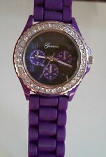 Fashion Candy Color Purple Jelly Silicone Rhinestone Girl's Women's Wrist Watch