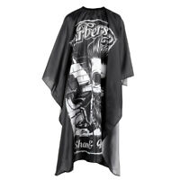 Pro Hair Cutting Barber/Salon Cape Gown Apron With Hanging Hook, Black