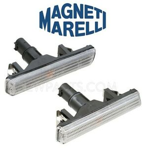 For BMW E38 E46 Pair Set of 2 Front Additional Side Lights w/ White Lens Marelli