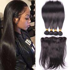 300g/3bundles virgin brazillian straight human hair 16,18,20 & 13x4 Frontal 14