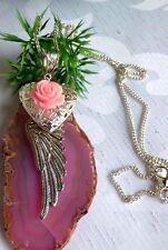 Engelsflügel Halskette mit Foto Medaillon Herz Rose Rosa Schutzengel Fantasy