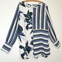 Next tunic Top Plus Size 22 womens floral stripe Blue White long sleeve