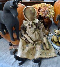 Large Handmade Primitive Folk Art Cloth Doll by Judy Bailey