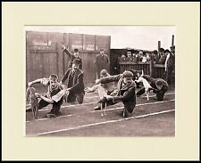 WHIPPET RACING WAITING TO START PERIOD IMAGE ON DOG PRINT MOUNTED READY TO FRAME