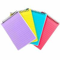 A6 Spiral Note Pad Book Multi Coloured Plastic Cover Lined Ruled Shopping Jotter