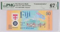 Fiji 50 Dollars ND 2020 P 121 COMM. Polymer Superb GEM UNC PMG 67 EPQ