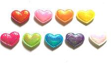 100 Pcs Cute Small Foil Heart Padded Appliques Mix Colors Size 10 mm X 15 mm