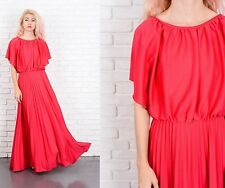 Vintage 70s Red Maxi Dress Accordion Pleated Slouchy Draped Medium M