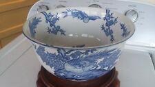 ANTIQUE Japanese Porcelain HAND PAINTED - BOWL - Cachepot - Vase - WOOD STAND