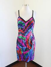 Vtg Rainbow Silk Beaded Sequin Cocktail Party Evening Dress Size M Abstract