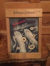 Antique Johnson & Johnson Foot Relief Pads Store Countertop Display Case