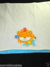 "Taggies Orange Lion Blue & White Plush Baby Crib Blanket 30"" x 40"""