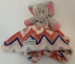Lovey Blankets and & Beyond Pink Grey Chevron Elephant Baby Security Blanket