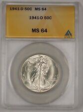 1941-D Walking Liberty Silver Half Dollar Coin ANACS MS-64 (1)