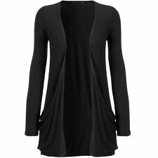 WOMENS LADIES LONG SLEEVE BOYFRIEND CARDIGAN WITH POCKETS PLUS SIZES 8—26*CARD