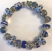 ❤️European CHARM BEADS BRACELET ~ NAVY Beads w/ Sterling Silver Plated Chain❤️