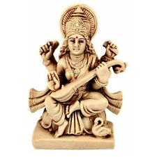 SARASWATI STATUE Hindu Goddess Indian God Deity India HIGH QUALITY White Resin