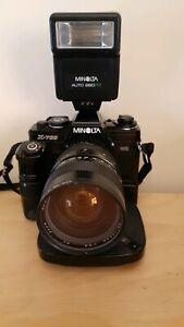 Minolta X-700 Camera with Telephoto Lens, Motor Drive, Flash & Extras
