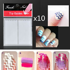 10PCS White Nail Art French Guide ZiG ZaG Tips Stickers Manicure Stencils DIY