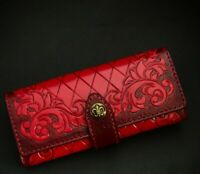 New Women's patent leather trim embossed party clutch purse handmade