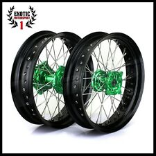"SUPERMOTO Wheel Kawasaki KX250F KX450F GREEN Hub Black Rim 17"" 2006/2014"