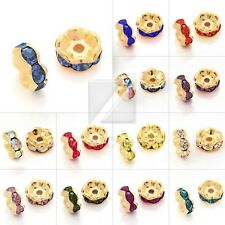 20pcs 5/6/8/10/12mm Crystal Spacer Beads Round Wavy Gold Plated Jewelry Making